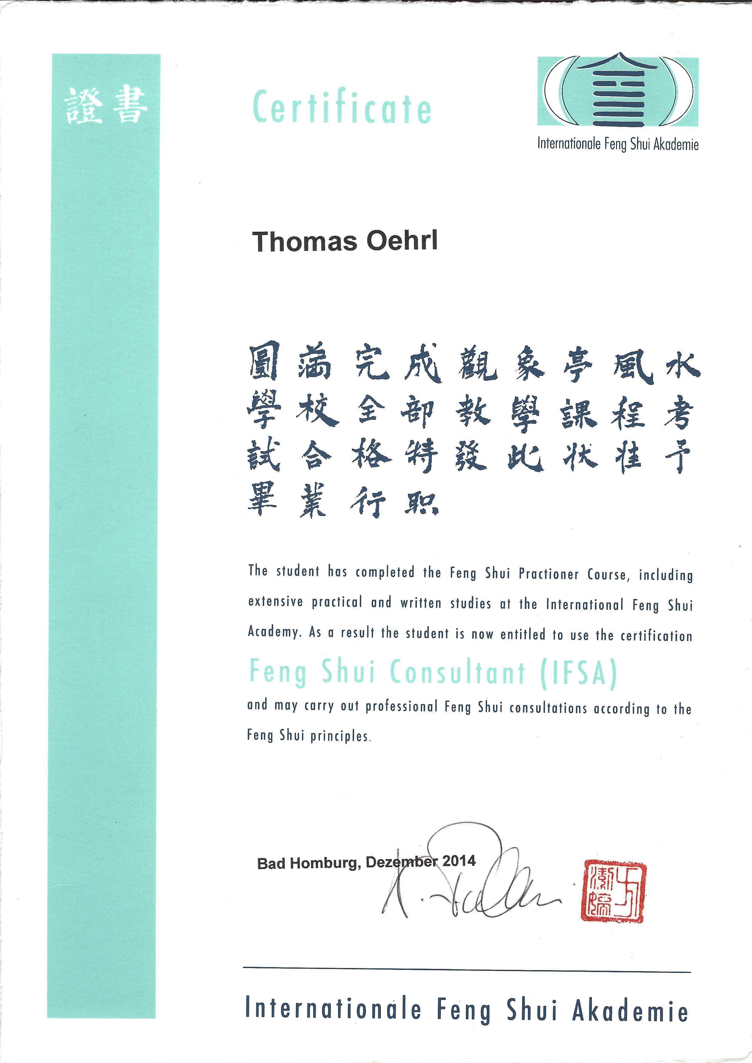 Fengshui Berater-Thomas Oehrl